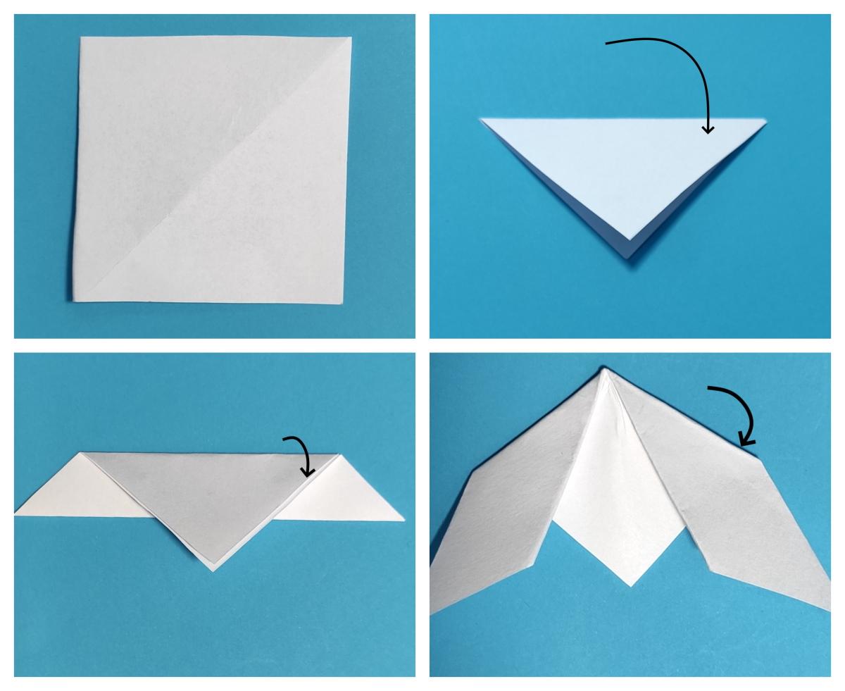 przebiśniegi origami kroki